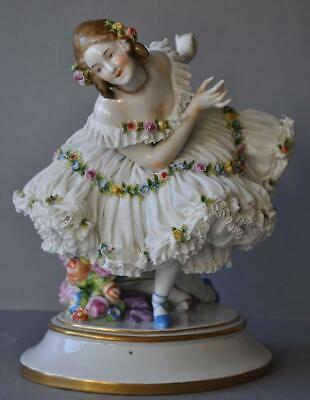Rare Gorgeous Large Porcelain Dresden Lace Volkstedt Lady Figurine Germany