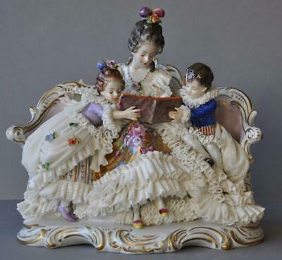 Gorgeous Vintage Volkstedt Dresden Lace Figure Mother with Children Group