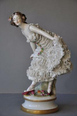 Great Large Porcelain Dresden Lace Volkstedt Ballerina Lady Figurine Germany