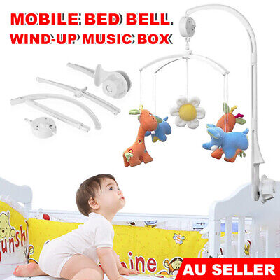 Baby Crib Mobile Bed Bell Toy Holder Arm Bracket Wind-up Music Box Nursery Gift