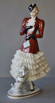 Gorgeous Porcelain Dresden Lace Lady Figurine with Dog Sitzendorf Volkstedt