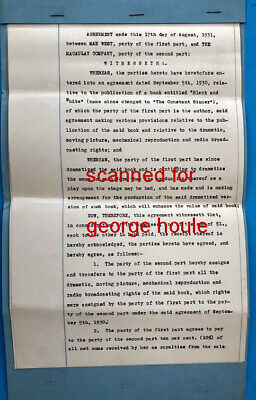 Mae West - Contract - 1931 - Signed - Constant Sinner - Harlem