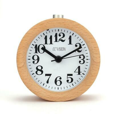 ECvision Wooden Round Silent Alarm Clock with Nightlight Snooze Classic...