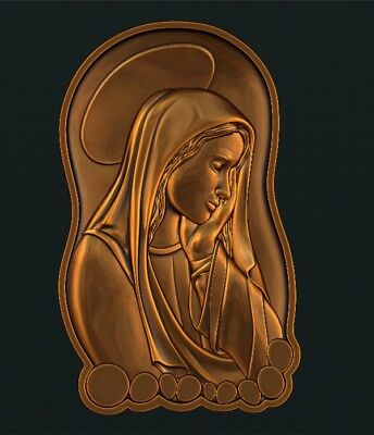 3d STL Model Relief for CNC Router Aspire _ (0575) Virgin Mary