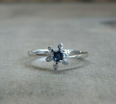 14K Solid White Gold Solitaire Floral Vintage VS Natural Sapphire Diamond Ring
