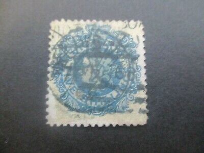 Victoria Stamps: 5/- Blue on Yellow Paper Used  (o64)