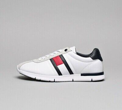 3e79b9496 Mens Tommy Hilfiger Retro Light Runner White Navy White Trainers (SF33) RRP