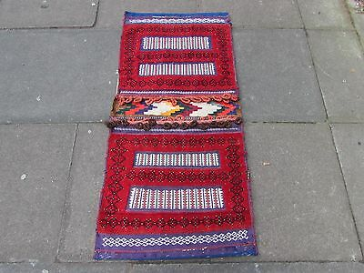 Old Hand Made Persian Oriental wool Red Colourful Tribal Saddle Bag 130x62cm
