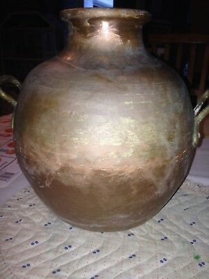 Antique Solid Copper Hammered Egyptian Bean Pot, Urn, Jug,Vase With Brass Handle