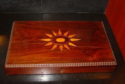 C1845 English Inlaid Mahogany Ripple Edge Desk Box or Sewing Box