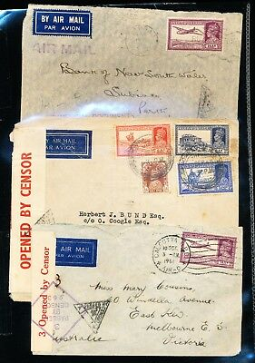 3 Indian Covers to Australia - 2 Opened by Censor (322)