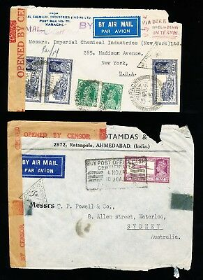 2 Indian Covers Censored - to USA and Australia (321)
