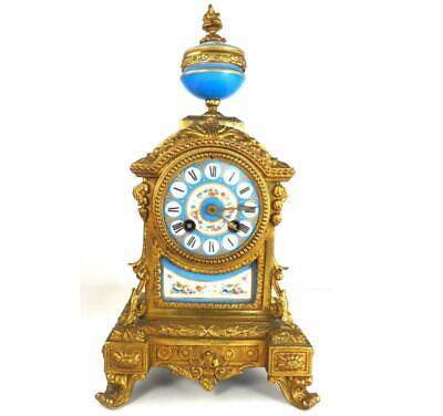 N854 Antique 19Th Century French Sevres Style Porcelain Spelter Clock