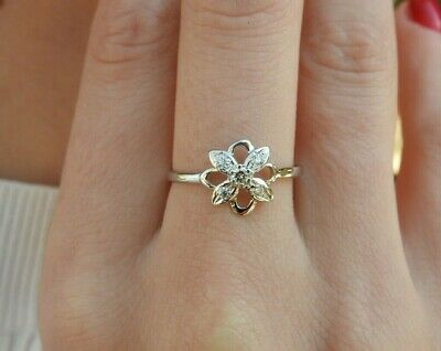 14K Solid White Gold Solitaire Floral Vintage VS Natural Cocktail Diamond Ring