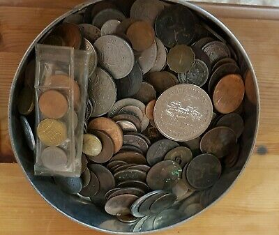 Tin of mixed Old English and Foreign Coins - Approx 2kg- includes a 1953 set