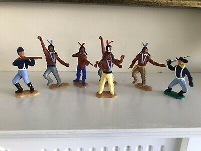 7 Vintage Timpo Indians And Cavalry