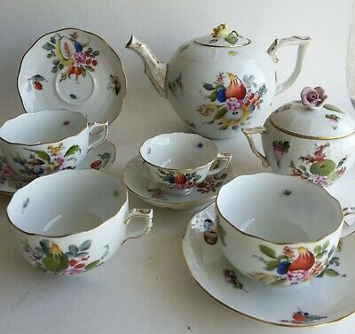 Herend Porcelain Fruit & Flowers Teapot Cups and Saucers 602 665 724