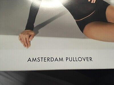 WOLFORD Amsterdam Pullover Black Top Sheer Seamless Quality Size M UK 14/16 NEW.
