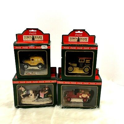 Coca Cola Town Square Collection 1994 Delivery Truck Cab Sleigh Fire Truck Lot