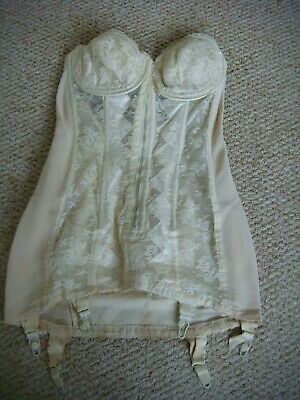 "Vintage 1950's ""New Youthline Rivoli"" Boned Long Line Girdle / Corset Size 36"