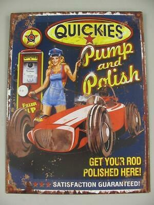 Metal Sign,Advertisement Sign Quickies Pump and Polish,Sayings Wall 13x9 13/16in