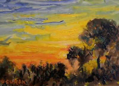 "Impressionism Oil Fine Art. Twilight. J. Ducuron  international artist. 9""x11"""