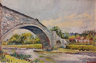 Impressionism Oil Fine Art. The stone bridge  Ducuron  internation artist 12x15