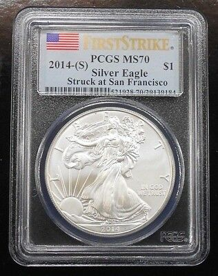 2014(S) Silver Eagle ~ Pcgs Ms70 ~ First Strike ~ Free Shipping (Ls5)