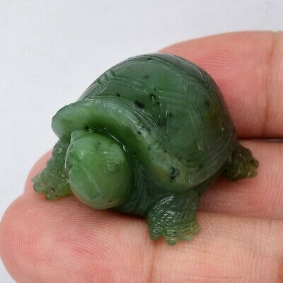 Rare! 120.38ct Turtle Carving Natural Green Nephrite Jade, Canada