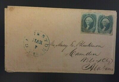Confederate #13 20 cent pair on cover from Galveston, Texas to Camden, Alabama