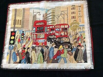 Beautifully worked unframed cross stitch _LONDON BUSES