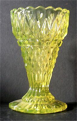 Mid-End 19th Cent Uranium Glass Fluted Vase -  Ex Barrie Skelcher's Collection