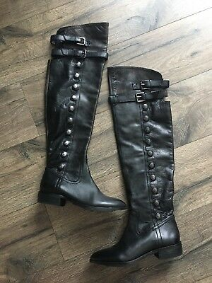 "5d863bbce6a SAM EDELMAN ""PIERCE"" Black Leather Over The Knee Boots Size 7 M ..."