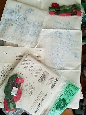 VTG Dexter Lee Wards Stamped Embroidery Pillow Cases w/ Pattern & Thread 2 SETS
