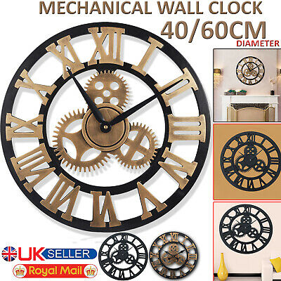 Large Traditional Vintage Style Iron Wall Clock Big Roman Numeral Skeleton Décor