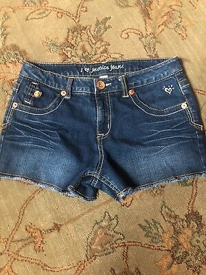 9b2109ab1a4 Justice Jeans Dark Denim Simply Low Blue Jean Shorts Girl s Size 12 1 2