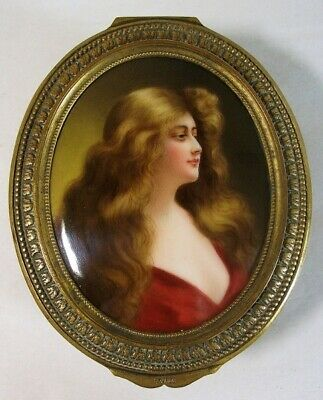 Hutschenreuther Porcelain Plaque Refection by Wagner Ormolu Trinket Box.