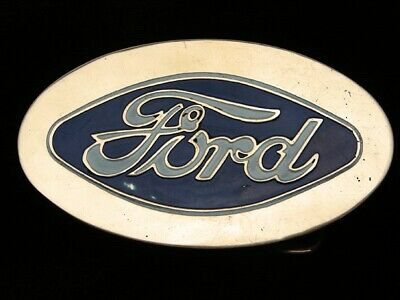 QI01152 VINTAGE 1970s **FORD** MOTOR COMPANY SOLID BRASS BARON BELT BUCKLE