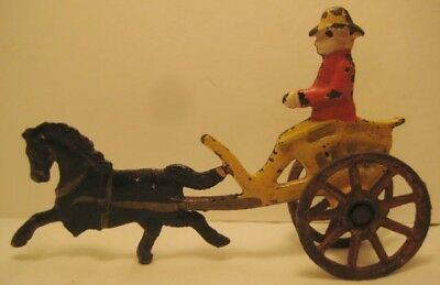 """Darling Victorian Antique Cast Iron Toy Horse Cart Tiny 4 1/4"""" Sulky 1880 Rare!"""