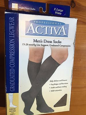 Activa Men's Dress Compression Socks 15-20 mmHg Lite Support, X-Large White