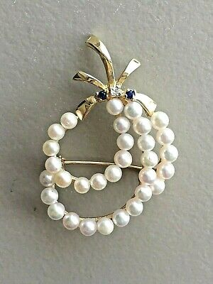 ESTATE 14K YELLOW GOLD CULTURED PEARL PIN with SAPPHIRE & DIAMOND ACCENTS ~6.7g