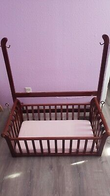 Vintage Wooden Jenny Lind Baby Cradle, Spindle Basinet, Swinging Basinet