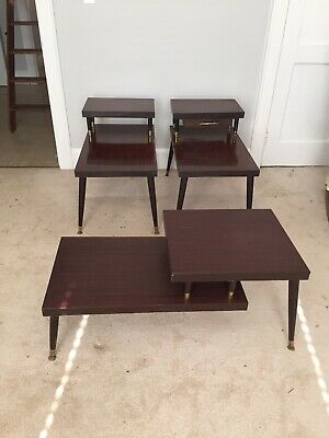 Vintage Mid Century Modern Matching End Tables And Coffee Table