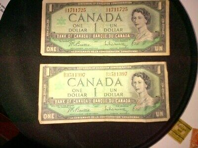 Paper Money Canada Canadian 1987 One Dollar $1 Currency Bank Note