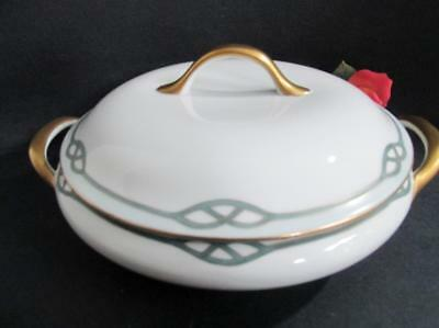 Vintage Nippon  Japan Lidded Casserole Dish White Gold Blue Hand Painted
