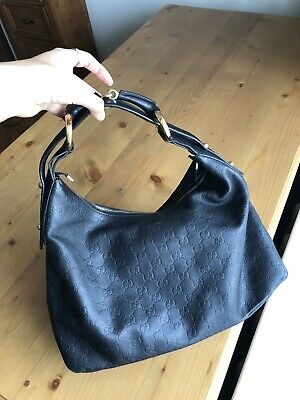20a872093535 AUTHENTIC GUCCI GUCCISSIMA Horsebit Black Leather Hobo Shoulder Bag ...