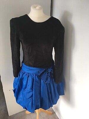 1980s Black/ Blue Bow Velvet  Puff Ball Prom Dress