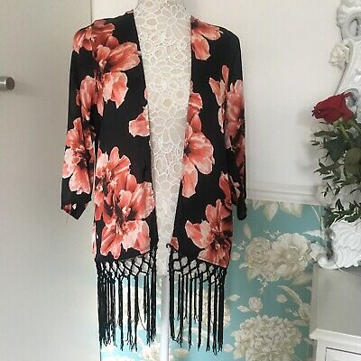 c75cb3e8f MISSGUIDED BLACK SHEER Fringed Floral Kimono Cover Up *Size Small ...