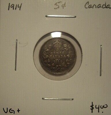 Canada George V 1914 Silver Five Cents - VG+