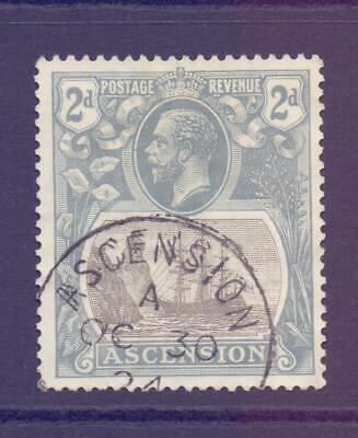 ASCENSION 1924-33 KGV SG13 2d Grey Black and Grey Fine Used CDS Cat £13